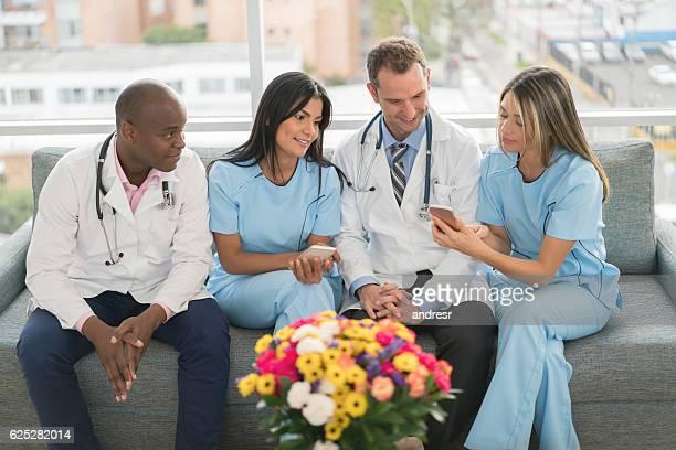 Medical staff on a break social networking