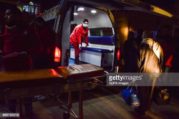 DOUMA DOUMA SYRIA DAMASCUS SYRIA A medical staff seen standing by inside an ambulance The evacuation of two wounded in the eastern Ghouta besieged...