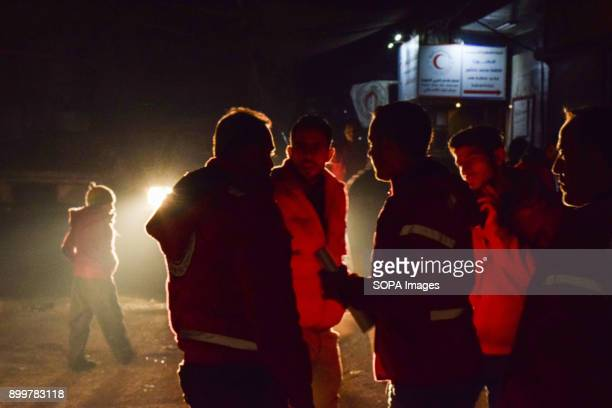 DOUMA DOUMA SYRIA DAMASCUS SYRIA Medical staff seen standing outside the medical center The evacuation of two wounded in the eastern Ghouta besieged...