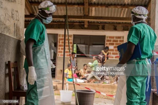 Medical staff wearing protective equipments enter the quarantine area of the centre of the International medical NGO Doctors Without Borders in Zomea...