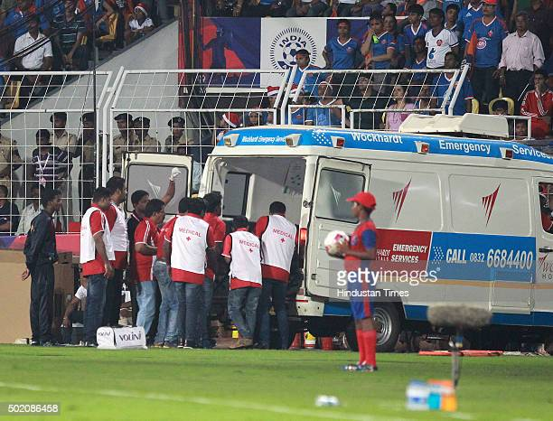 Medical staffs take Dudu player of FC Goa for treatment during ISL Final match at Jawaharlal Nehru Stadium on December 20 2015 in Margao India
