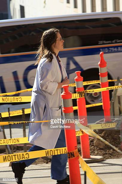 A medical student walk past a construction zone next to the Neuroscience Research Center at University of California Los Angeles on October 9 2008 in...