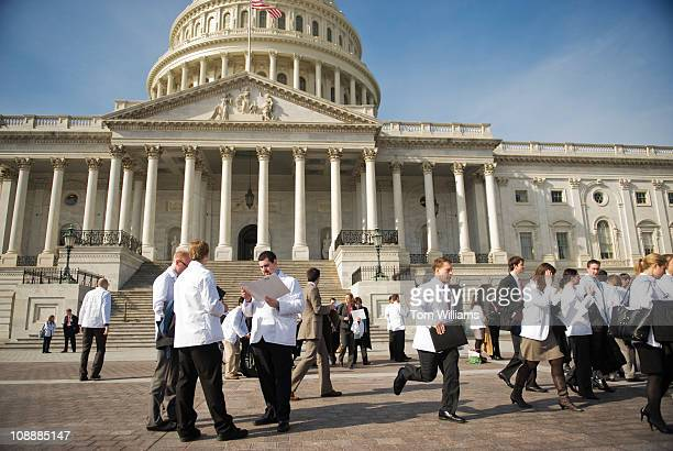 Medical students assemble on the east front plaza of the Capitol before visiting Hill offices on American Medical Association Medical Student Lobby...