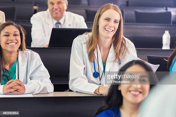 Medical students attending healthcare conference or lecture