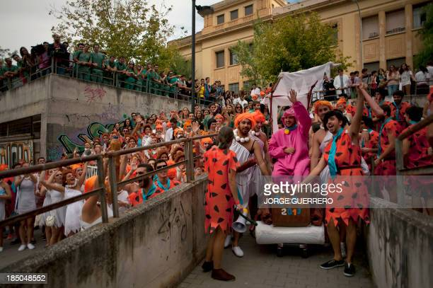 Medical students dressed up as characters of the cartoon 'the Flintstones' take part in a hazing at the Faculty of Medicine of the University of...