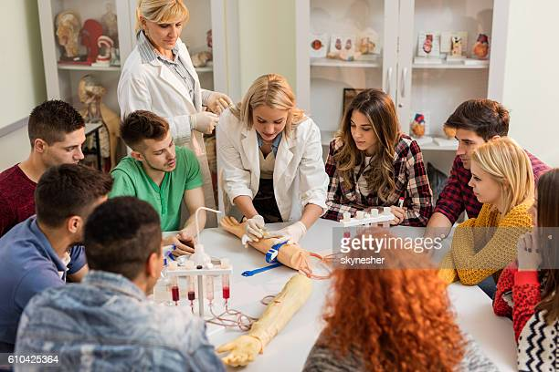 Medical students learning to take blood from artificial hand.