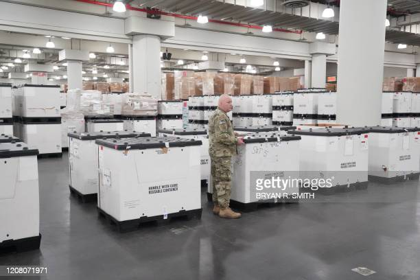 Medical supplies are seen inside the Jacob Javits Center as New York Governor Andrew Cuomo announces plans to convert the Jacob Javits Center on...
