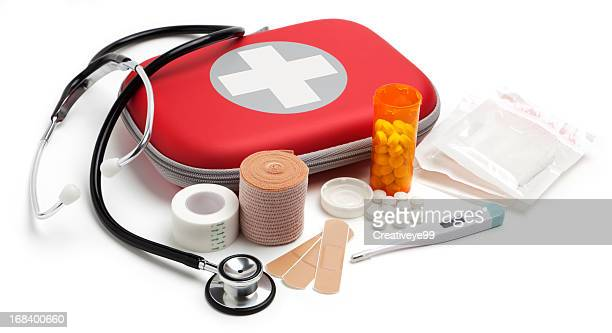 medical supplies on white background - bandage stock pictures, royalty-free photos & images