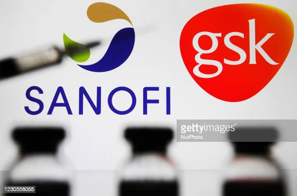 Medical syringe and vials are seen in front of Sanofi and GlaxoSmithKline logos in this creative photo illustration.