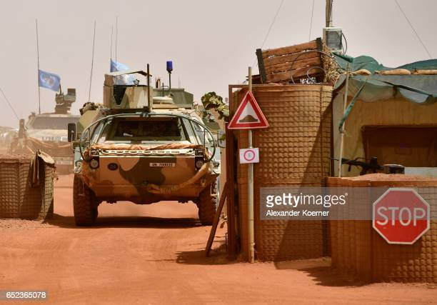 A medical tank of the Bundeswehr the German armed forces enters Camp Castor after returning from a trainings mission on March 6 2017 in Gao Mali...