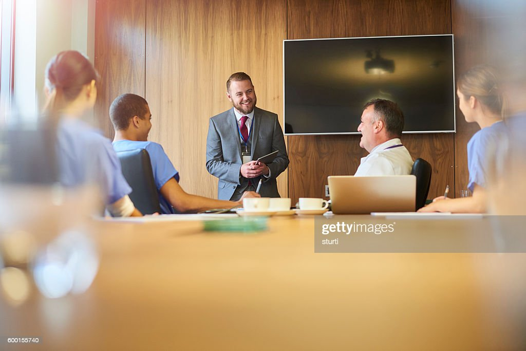 Medical Team Briefing From Pharmaceutical Rep Stock Photo Getty Images