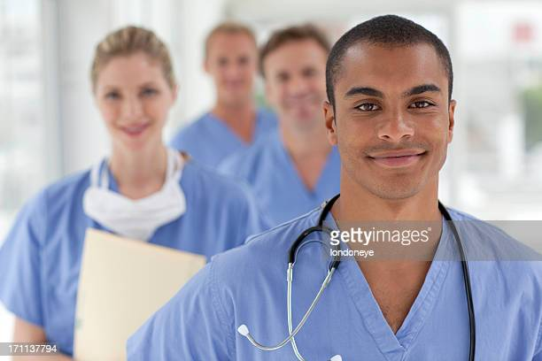 medical team - nurse and portrait and white background and smiling and female and looking at camera stock pictures, royalty-free photos & images