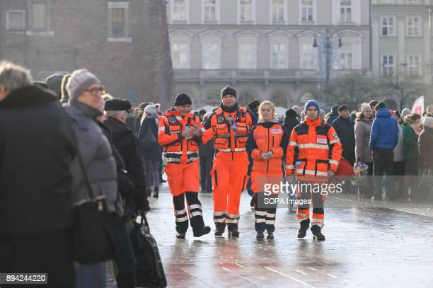 Medical team seen walking around during the 21st Edition of the Biggest Christmas table in Europe at the Main Square in Krakow The so called...