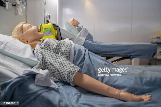 Medical training mannequins at the new Dragon's Heart Hospital on April 20, 2020 in Cardiff, Wales. The Dragon's Heart hospital is a 2000-bed field...