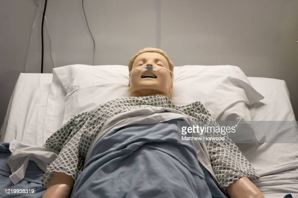Medical training mannequins on a ward at the new Dragon's Heart Hospital on April 20, 2020 in Cardiff, Wales. The Dragon's Heart hospital is a...