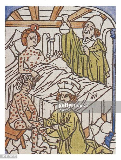 Medical treatment of syphilis Wood engraving title page of a medicine work of the 15th century