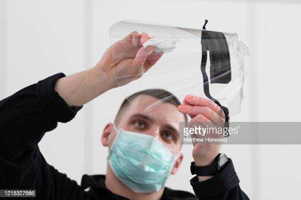 Medical visors for NHS workers are made at the Royal Mint on March 28 2020 in Llantrisant Wales Engineers at The Royal Mint who are best known for...