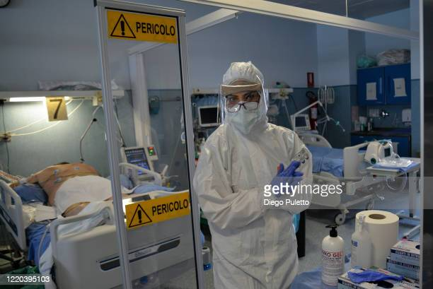 Medical worker in an intensive care unit in the Covid department of Turin San Luigi Hospital on April 22 in Turin, Italy. The Italian government...
