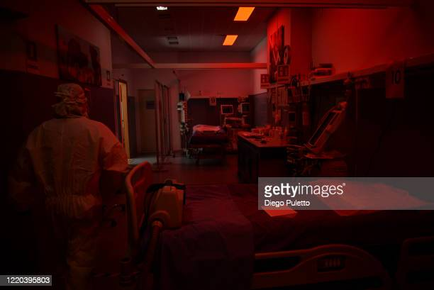 Medical worker inside an intensive care unit in the Covid department of Turin San Luigi Hospital on April 22 in Turin, Italy. There have been well...