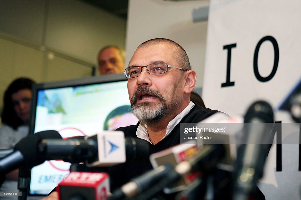 Medical worker Marco Garatti attends a press conference at the headquarters of Italian aid agency Emergency on April 23, 2010 in Milan, Italy. Matteo Dell'Aira, Marco Garatti and Matteo Pagani, all employees of Emergency, were released after being held for a week by Afghan authorities over an alleged assassination plot against the governor of Helmand province.