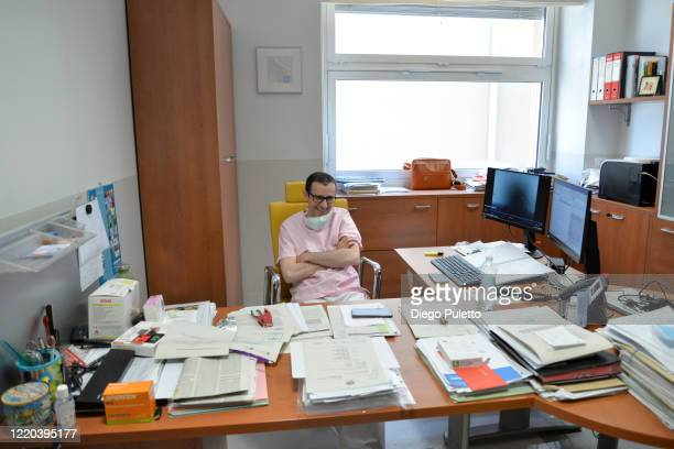 Medical worker, Pietro Caironi in an intensive care unit in the Covid department of Turin San Luigi Hospital on April 22 in Turin, Italy. The Italian...