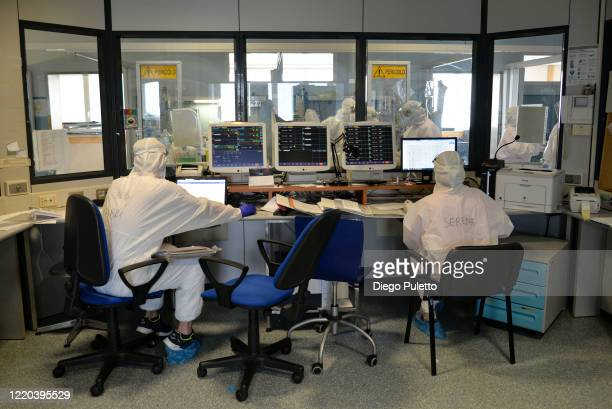 Medical workers in an intensive care unit in the Covid department of Turin San Luigi Hospital on April 22 in Turin, Italy. The Italian government...