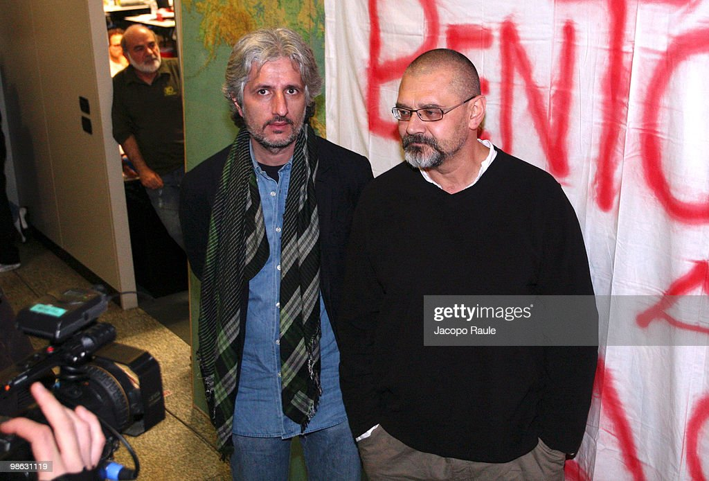 Medical workers Matteo Dell'Aira (L) and Marco Garatti attend a press conference at the headquarters of Italian aid agency Emergency on April 23, 2010 in Milan, Italy. Matteo Dell'Aira, Marco Garatti and Matteo Pagani, all employees of Emergency, were released after being held for a week by Afghan authorities over an alleged assassination plot against the governor of Helmand province.