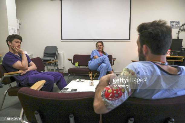 Medical workers take a break in a wellbeing room at Frimley Park Hospital operated by Frimley Health NHS Foundation Trust in Camberley UK on Friday...