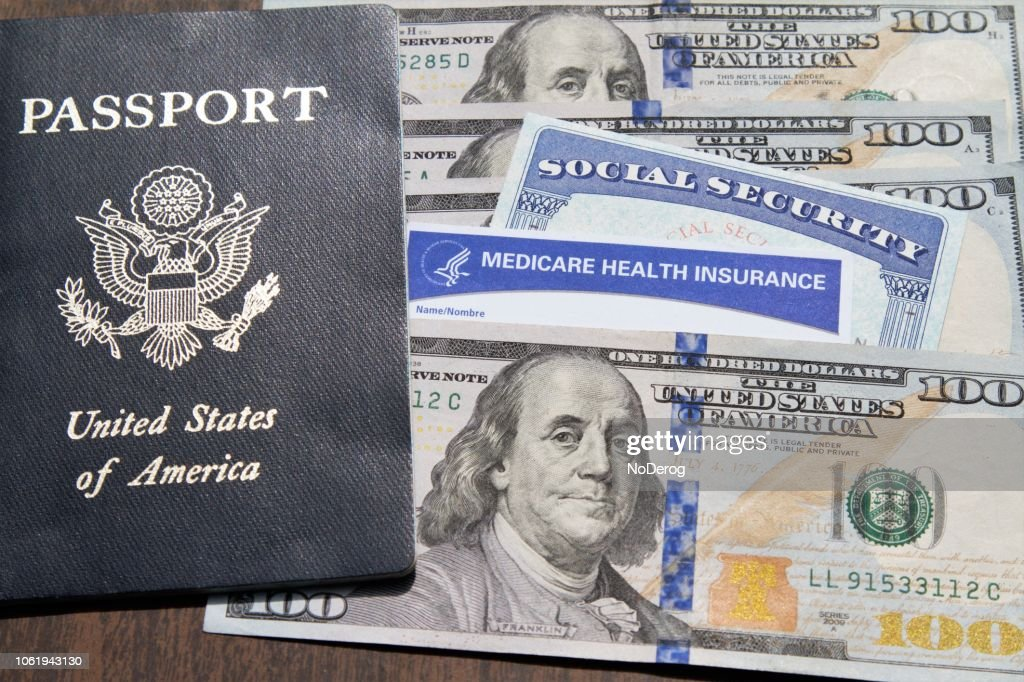 Medicare And Social Security Cards With Usa Pport Currency Stock Photo