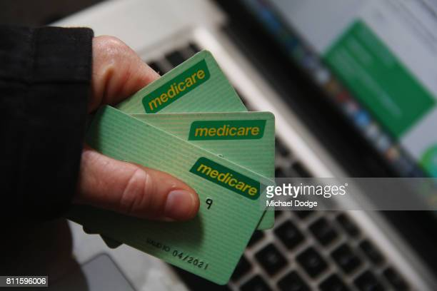 Medicare cards are seen on July 10 2017 in Melbourne Australia The Federal Goverment has announced a review of Medicare's online security protocols...
