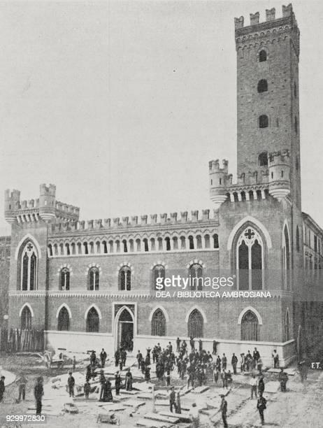 Medici del Vascello Palace and Comentina tower Asti Piedmont Italy photograph by Treves from L'Illustrazione Italiana Year XXV No 31 July 31 1898