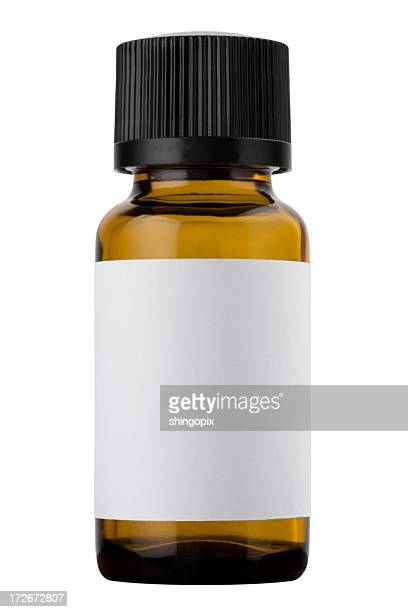 medicine bottle with a blank white label and a black cap - lid stock photos and pictures