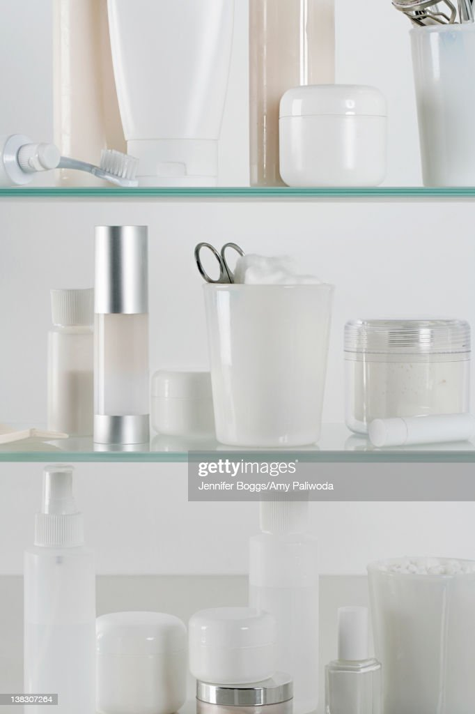 Medicine cabinet full of skincare products : Stock Photo
