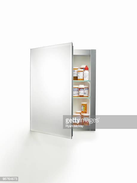 medicine cabinet on white
