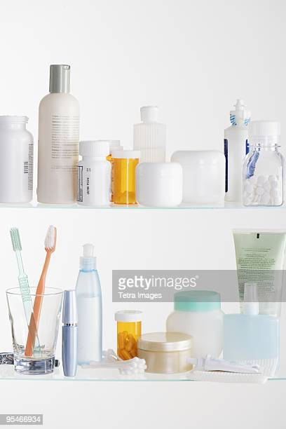 medicine cabinet shelves - toiletries stock pictures, royalty-free photos & images