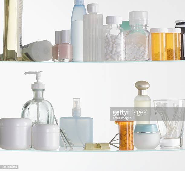 medicine cabinet shelves - medicine cabinet stock pictures, royalty-free photos & images