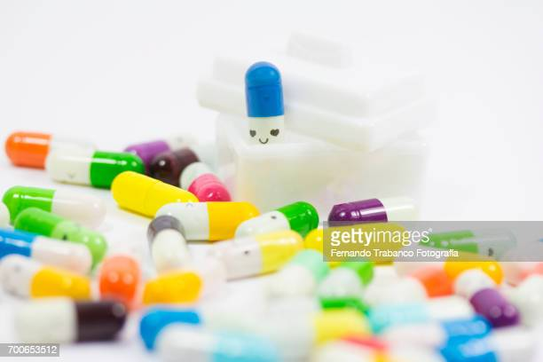 Medicine chest with a smiley face pills (antidepressant)