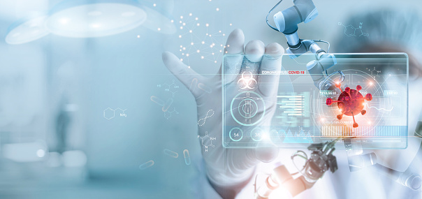 Medicine doctor and robotics research and analysis. Diagnose checking coronavirus or covid-19 testing result with modern virtual screen in laboratory, Inhibition of disease outbreaks and Medical technology. 1213407545