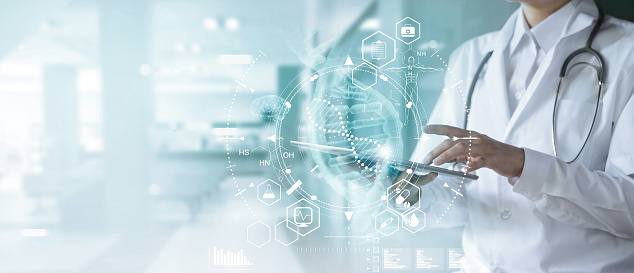 Medicine doctor touching electronic medical record on tablet. DNA. Digital healthcare and network connection on hologram modern virtual screen interface, medical technology and futuristic concept. 1165067633