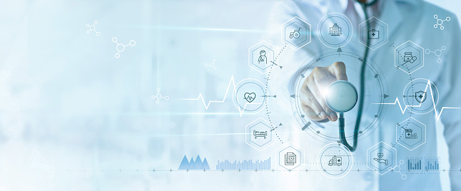 Medicine doctor with stethoscope in hand and icon insurance for health. Medical network connection on virtual screen interface. Innovation and modern medical technology concept 1150208422