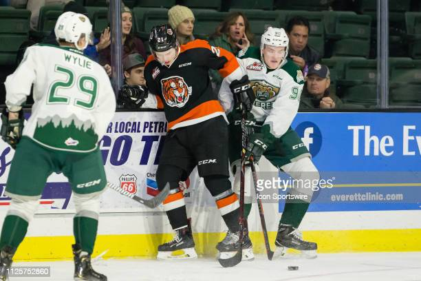 Medicine Hat Tigers forward Brett Kemp and Everett Silvertips forward Robbie Holmes collide on the boards battling for the puck during a game between...
