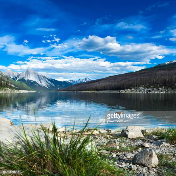 Medicine Lake in the Canadian Rocky Mountains of Jasper National Park, Alberta, Canada