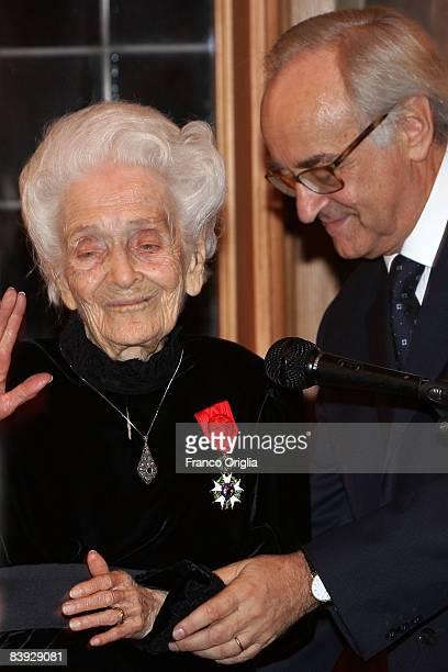Medicine Nobel Prize Winner Rita LeviMontalcini receives the Legion D'Honneur Medal from the French Ambassador JeanMarc De La Sabliere at the Villa...