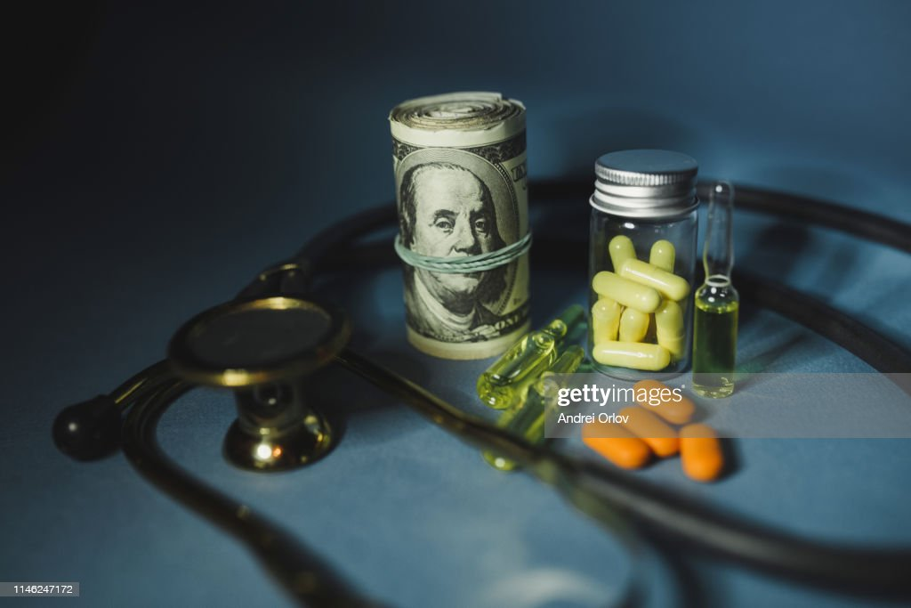 Medicine pills or capsules with money, dollar. Medical or pharmacy prescription for health. Business, finance concept. Cost of the healthy life. Bottle of drug : Stock Photo