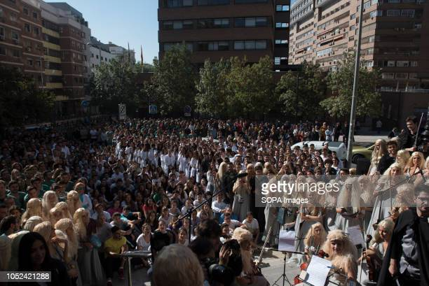 Medicine students are see gathered before the celebrations Every year medicine students celebrate El Lucas in Granada with the traditional hazing of...