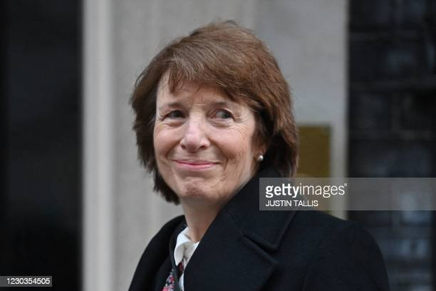 Medicines and Healthcare products Regulatory Agency CEO June Raine arrives for a briefing at 10 Downing Street in London on December 30, 2020 after...