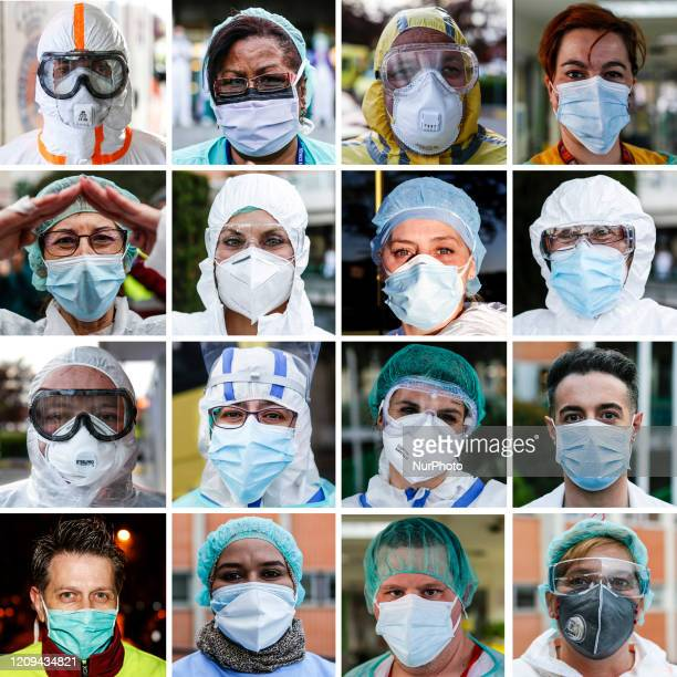 Medics paramedics nurses nursing assistants ICU staff These are the faces of Madrid's sanitation workers during their fight against coronavirus