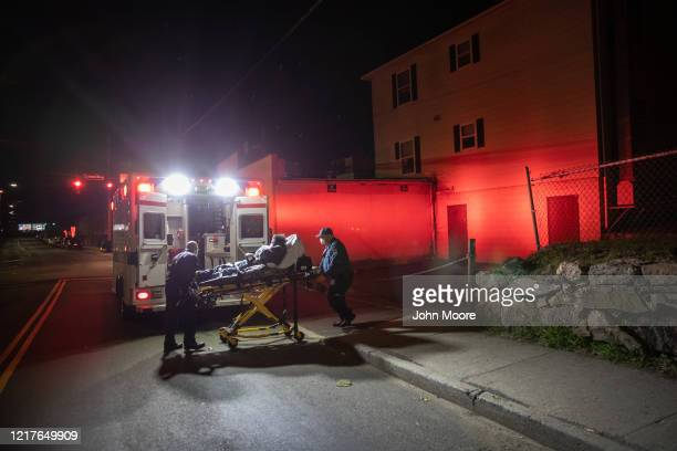 Medics with Stamford EMS transport a patient to Stamford Hospital on April 02 2020 in Stamford Connecticut Stamford located close to New York City...