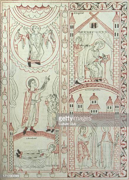 Medieval 10th / 11thC Swabian Illuminated manuscript showing St Gregory The Annunciation The Dream of St Benedict saint Gregorian chant
