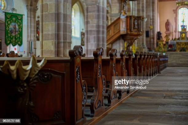 Medieval abbey church in Andlau, interior view, Alsace, France
